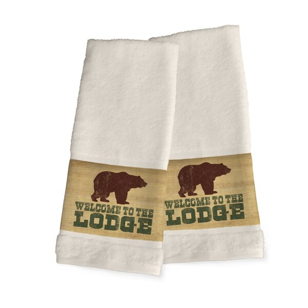 Welcome to the Lodge 2 Piece 100% Cotton Hand Towel Set (Set of 2) by Loon Peak